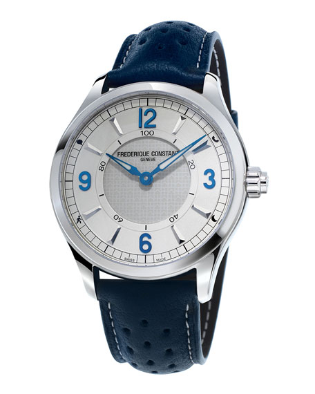 42mm Horological Smart Watch with Leather Strap, Blue