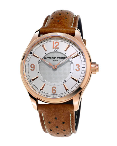 Horological Smart Watch with Leather Strap, White/Brown