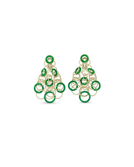 Hawaii Jade Circle Earrings in 18K Gold