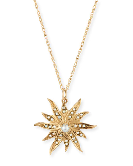 14k Pearl Star Pendant Necklace