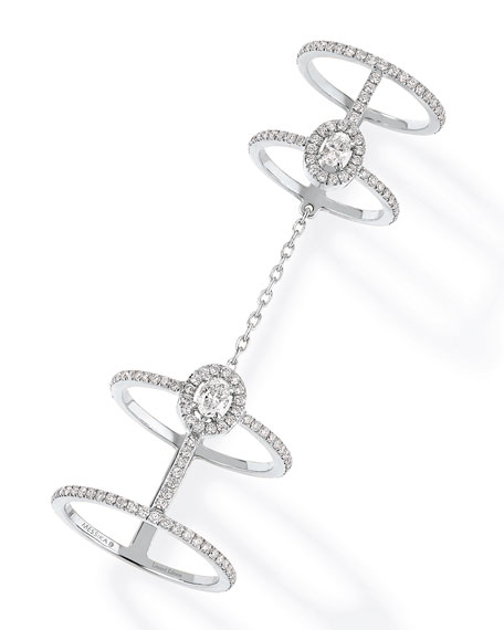 Glam'Azone Chain-Linked Diamond Ring in 18K White Gold