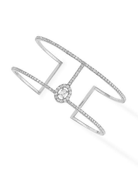 Glam'Azone Diamond Cuff Bracelet in 18K White Gold