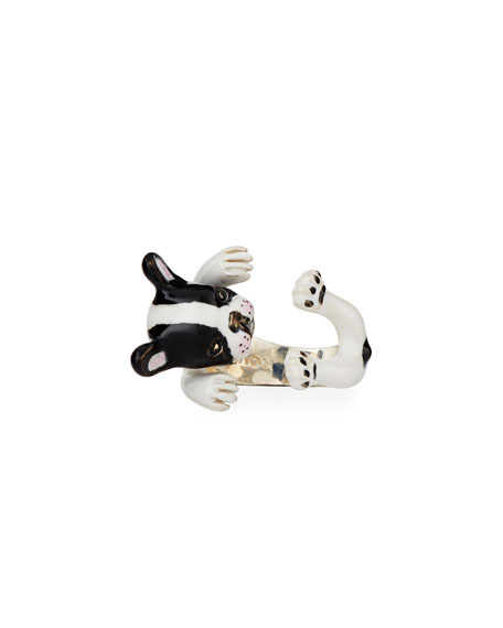 French Bulldog Enameled Dog Hug Ring, Size 7