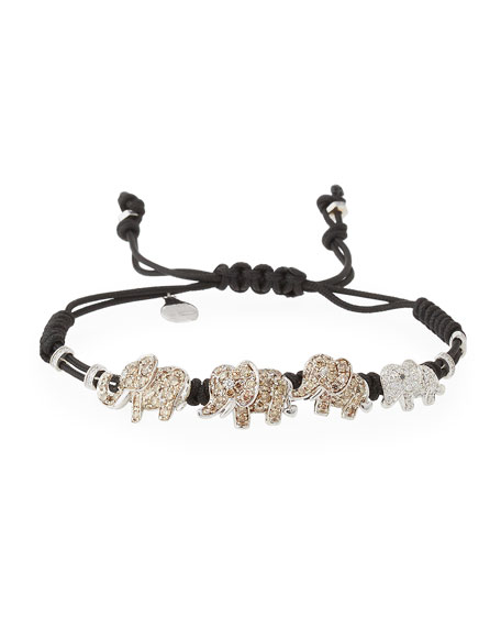 Pippo Perez Pull-Cord Bracelet with Diamond Elephants in