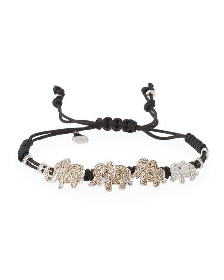 Pippo Perez Pull-Cord Bracelet with Diamond Elephants in