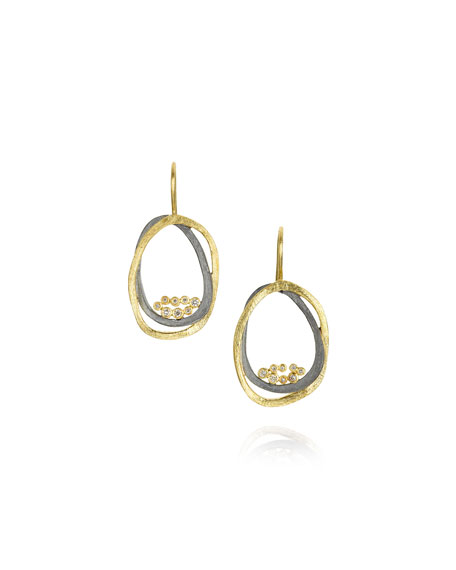 Small Dangle Earrings In 18k Gold Sterling Silver With Diamonds