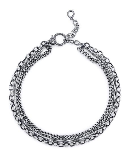Sheryl Lowe Three-Row Chain Necklace with Diamond Clasp