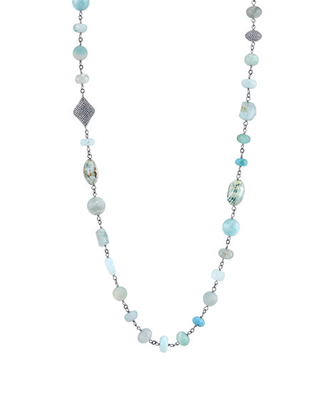 Sheryl Lowe Mixed Wire Wrap Necklace with Amazonite,