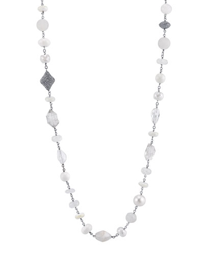 Pearl & Moonstone Beaded Necklace with Diamonds, 44