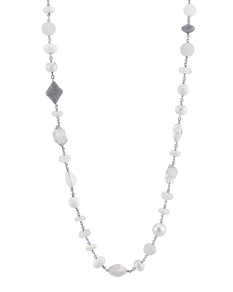 Pearl & Moonstone Beaded Necklace with Diamonds, 44""