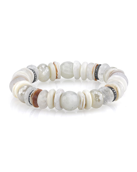 Sheryl Lowe 11mm White Druzy Beaded Bracelet with