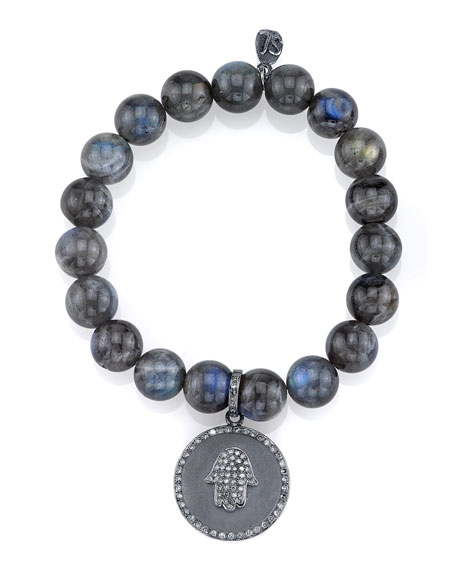 Sheryl Lowe Beaded Labradorite Bracelet with Diamond Hamsa