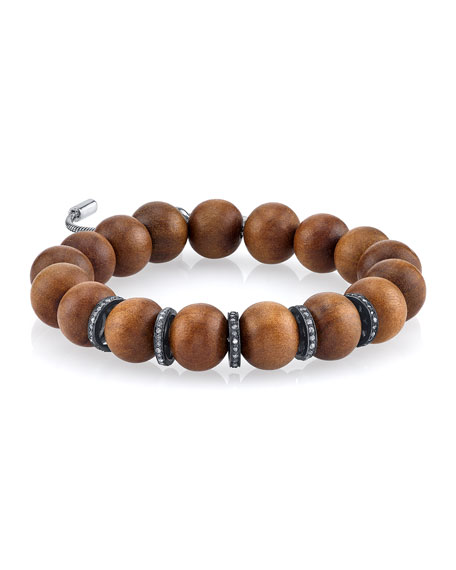12mm Sandalwood Beaded Bracelet with Diamond Rondelles