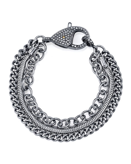 Sheryl Lowe Three-Strand Chain Bracelet with Diamond Clasp