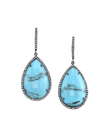 Mexican Turquoise Teardrop Earrings with Diamonds