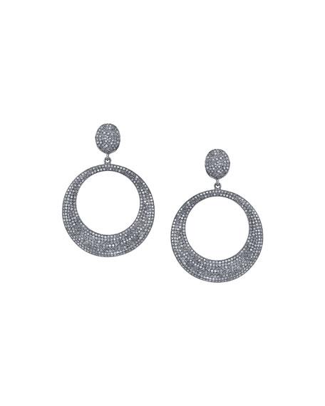 Pave Diamond Doorknocker Hoop Earrings