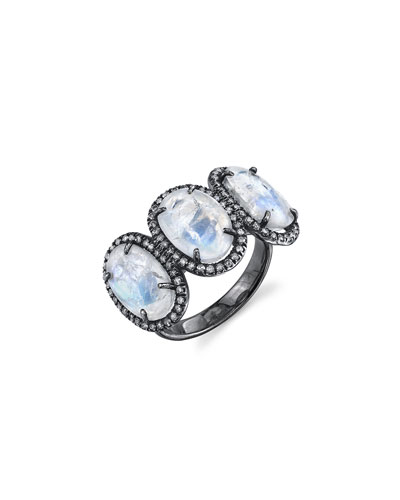 Past, Present, Future Rainbow Moonstone Ring with Diamonds, Size 7