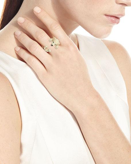 Golden Retriever Enameled Dog Hug Ring, Size 6