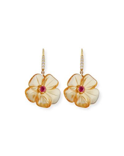 Citrine Mini Flower Earrings with Diamonds
