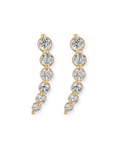 Curved Diamond Climber Earrings