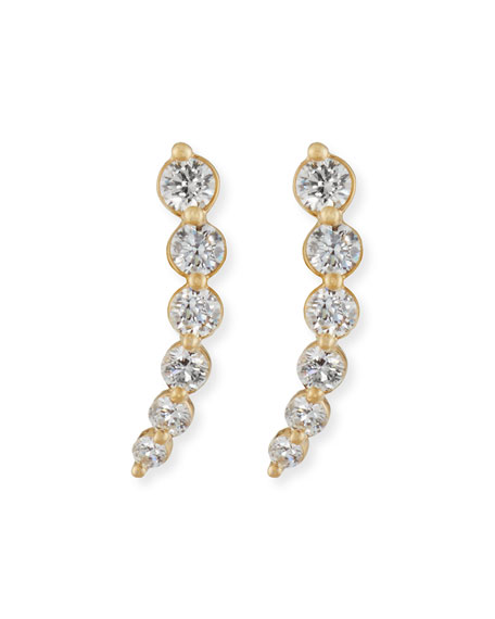 Curved Diamond Climber Earrings