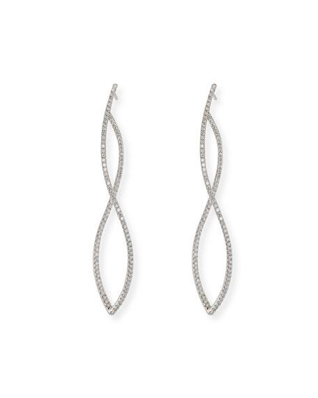 18K White Gold Twist Earrings with Diamonds