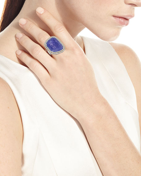 Abstract Tanzanite Ring with Diamond Double-Halo