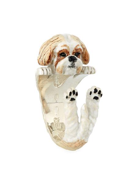 Shih Tzu Enameled Dog Hug Ring, Size 8
