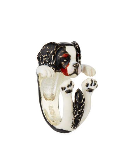Cavalier King Charles Spaniel Enameled Dog Hug Ring, Size 7