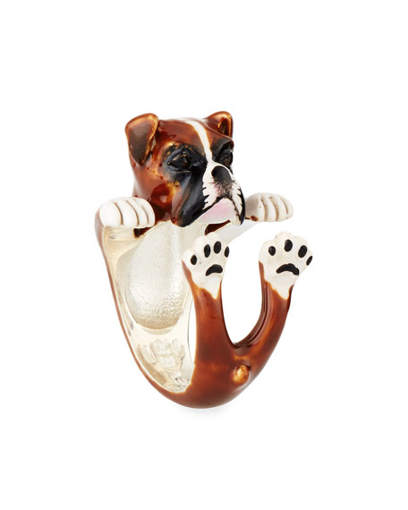 Boxer Enameled Dog Hug Ring, Size 7