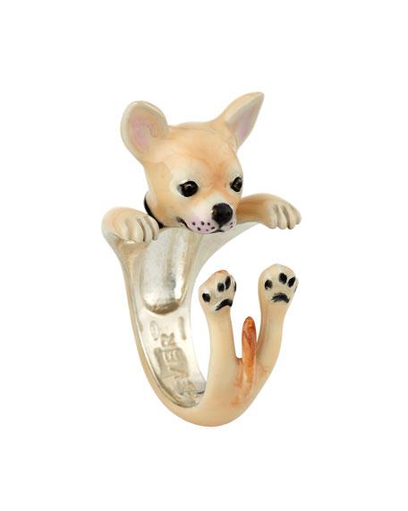 Chihuahua Enameled Dog Hug Ring, Size 8