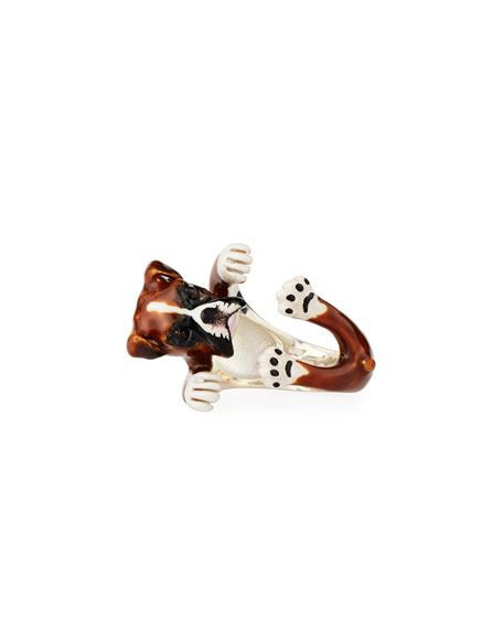 Boxer Enameled Dog Hug Ring, Size 8
