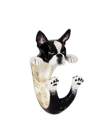 Boston Terrier Enameled Dog Hug Ring, Size 8
