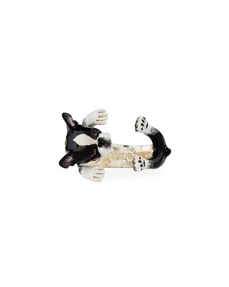 Boston Terrier Enameled Dog Hug Ring, Size 8