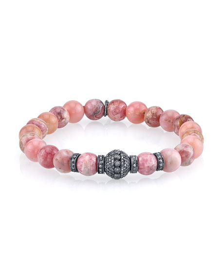 Sheryl Lowe Opal & Rhodochrosite Beaded Bracelet with