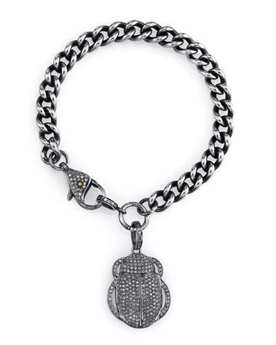 Diamond Scarab Charm Bracelet