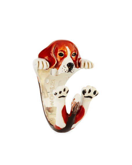 Beagle Enameled Dog Hug Ring, Size 8