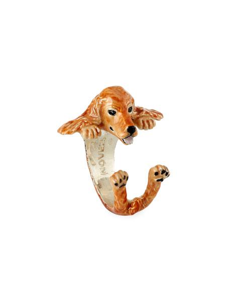 Cocker Spaniel Enameled Dog Hug Ring, Size 7