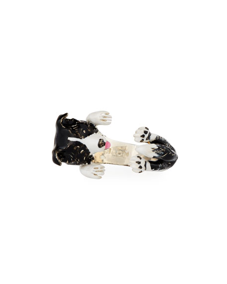 Dog Fever Border Collie Enameled Dog Hug Ring,