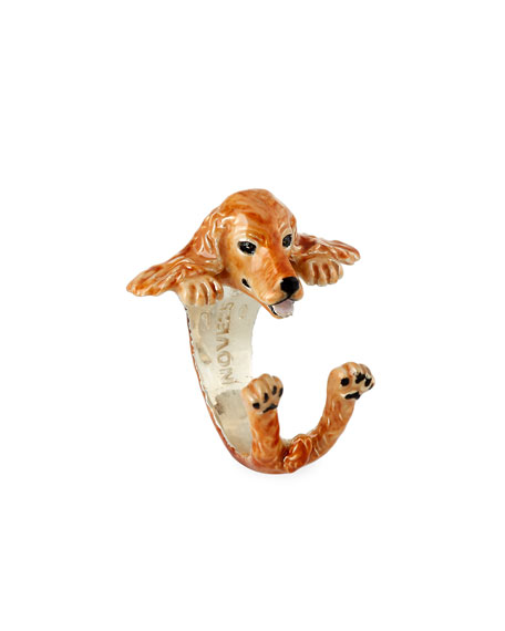 Cocker Spaniel Enameled Dog Hug Ring, Size 8