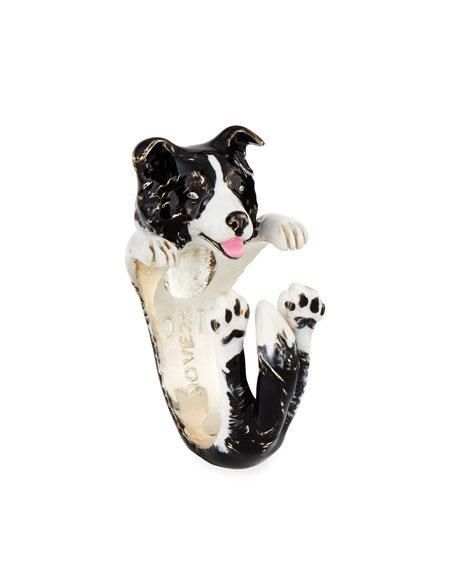 Border Collie Enameled Dog Hug Ring, Size 7