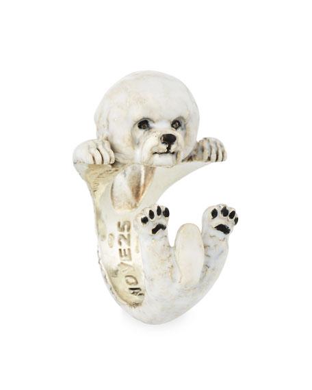 Bichon Frise Enameled Dog Hug Ring, Size 7