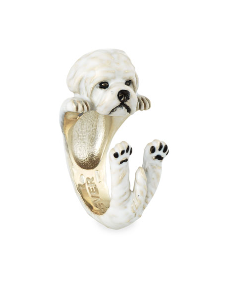 Maltese Enameled Dog Hug Ring, Size 7