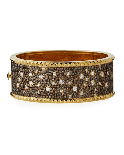 Large 18K Gold Cuff Bracelet with Cognac & White Diamonds