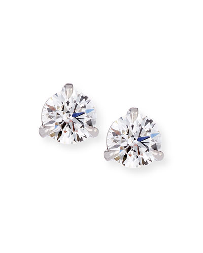 18k White Gold Martini Diamond Stud Earrings, 0.51 tcw
