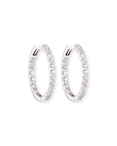 Oval Diamond Hoop Earrings in 18K White Gold