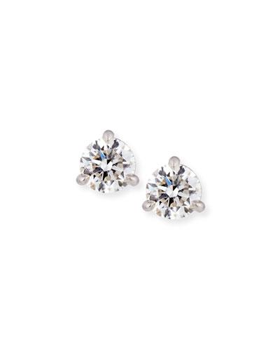 18k White Gold Martini Diamond Stud Earrings, 0.88tcw