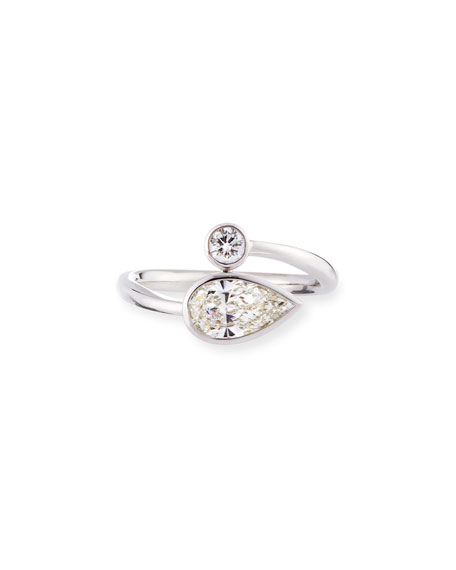 Pear & Round Diamond Bypass Ring