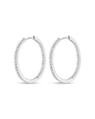 51dcb7d211a41 Memoire 18k White Gold Oval Hoop Earrings