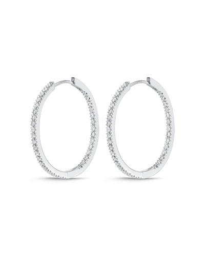 18k White Gold Oval Hoop Earrings
